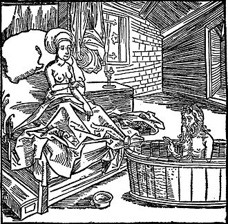The Book of the Knight of the Tower - Woman and the bathing hermit