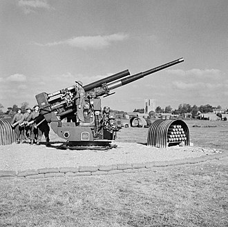 QF 3.7-inch AA gun - A static 3.7-inch gun assigned to the 127th Heavy Anti-Aircraft Regiment, mounted on a Pyle platform at Southwold, Suffolk, October 1944