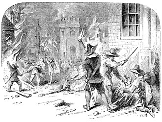 Bacon's Rebellion - A 19th-century engraving depicting the burning of Jamestown
