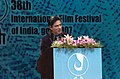 The Chief Guest and renowned actor Shahrukh Khan addressing at the inauguration of the 38th International Film Festival of India (IFFI-2007) at Panaji, Goa on November 23, 2007.jpg