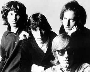The Doors - The group in 1966 (l-r): Morrison, Densmore, Krieger and (seated) Manzarek