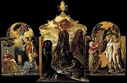 The Modena Triptych (1568, tempera on panel, 37×23,8cm (central), 24×18cm (side panels), Galleria Estense, Modena) is a small-scale composition attributed to El Greco .