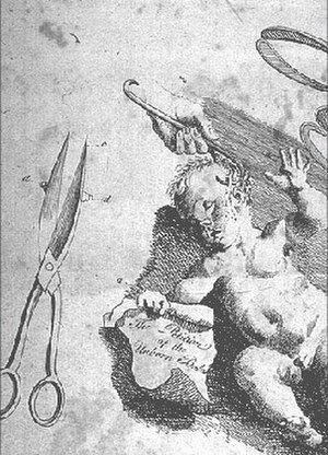 """Fetal rights - A baby holding the """"Petition of the Unborn Babes"""", 18th century illustration."""