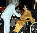 The President, Dr. A.P.J. Abdul Kalam presenting Padma Shri to Dr. (Smt.) Surinder Kaur, a Punjabi folk singer, at an Investiture Ceremony at Rashtrapati Bhavan in New Delhi on March 29, 2006.jpg