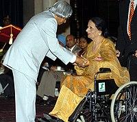 The President, Dr. A.P.J. Abdul Kalam presenting Padma Shri to Dr. (Smt.) Surinder Kaur, a Punjabi folk singer, at an Investiture Ceremony at Rashtrapati Bhavan in New Delhi on March 29, 2006.jpg