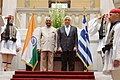 The President, Shri Ram Nath Kovind being escorted by the President of Hellenic Republic, Mr. Prokopis Pavlopoulos after the delegation level talks, at Presidential Mansion, in Athens, Greece on June 18, 2018.JPG