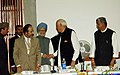 The Prime Minister, Dr. Manmohan Singh shaking hands with the former Chief Minister of Jammu & Kashmir, Dr. Farooq Abdullah at the Round Table Conference in Srinagar, Jammu & Kashmir on May 24, 2006.jpg