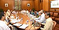 The Prime Minister, Shri Narendra Modi chairing a high level meeting on drought and water scarcity with the Chief Minister of Gujarat, Smt. Anandiben Patel, in New Delhi on May 16, 2016 (1).jpg