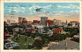 Houston Skyline District - Sky Line, Houston, Texas (postcard, circa 1923)