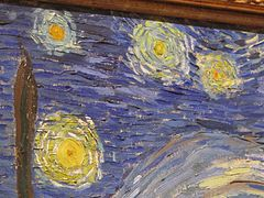 The Starry night by Van Gogh, detail of the sky