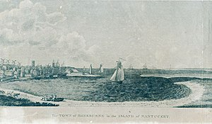 Nantucket's neutrality during the American Revolutionary War - A woodcut engraving from 1811, created by Benjamin Tanner, to depict the southern view of the port of Nantucket