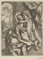 The Virgin seated with the Christ Child on her lap embracing her, Joseph seen through an archway at left, after Reni MET DP838592.jpg