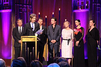 Rectify - Ray McKinnon, along with Mark Johnson, Clayne Crawford, Aden Young, J. Smith-Cameron, Abigail Spencer and Melissa Bernstein, accept the Peabody Award for Rectify.