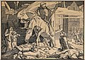 The dance of death; Death, seen riding his horse, leaves the Wellcome V0042047.jpg