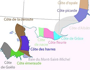Côte Fleurie - Image: The names of the coasts in Normandy