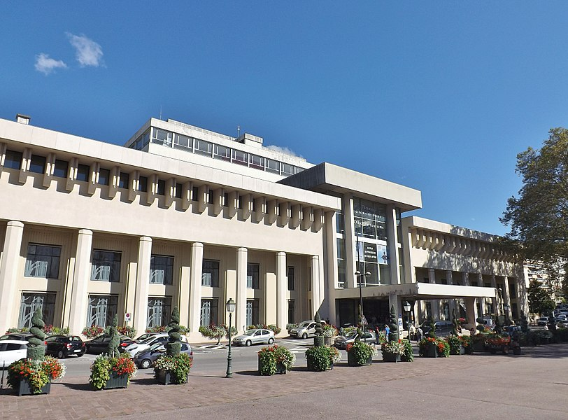 Sight of the Thermes nationaux (national thermae baths) of Aix-les-Bains in Savoie, France.