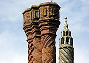 Brick sculpturing on Thornbury Castle, Thornbury, near Bristol, England.The chimneys were erected in 1514.