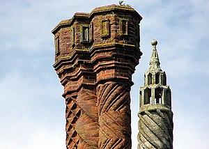 Thornbury Castle - Thornbury Castle chimney detail, brickwork built in 1514