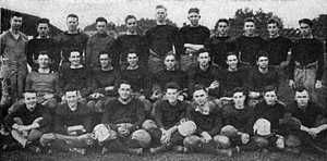 Andrew W. Smith - Throop football team, c. 1917, Smith back row left.