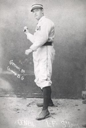 "1886 World Series - Slugging St. Louis Browns outfielder James ""Tip"" O'Neill (1858-1915) hit two home runs in the second game of the series."