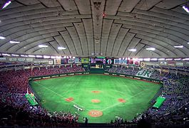 vast expanse with no columns, gray roof with sections, bright green playing field