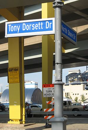 Tony Dorsett - Tony Dorsett Drive near Heinz Field in Pittsburgh's North Shore neighborhood