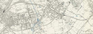 Tooting, Merton and Wimbledon Railway - Tooting, Merton and Wimbledon Railway on an 1890s Ordnance Survey map, running between Wimbledon (left) and Streatham (right) with the Wimbledon and Merton branches meeting at Tooting