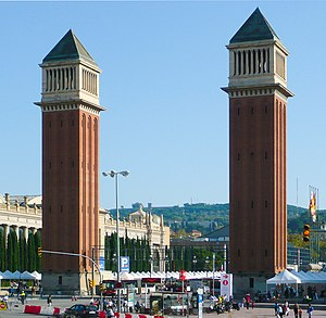 Venetian Towers - The Venetian Towers, looking towards Montjuïc.