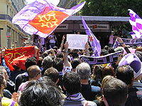 Toulouse's supporters celebrating their team's qualification to UEFA Champions League 2007-08