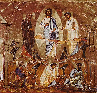 12th-century icon of the Transfiguration Transfiguration of Christ Icon Sinai 12th century.jpg
