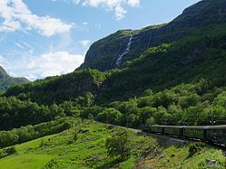 Train on the Flåm Railway