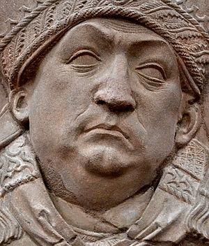 Sponheim - Detail of tomb relief of Johannes Trithemius by Tilman Riemenschneider