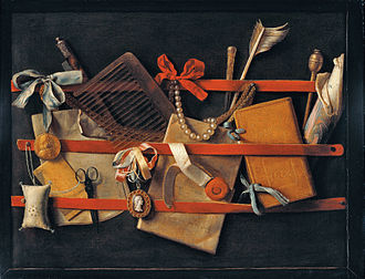 1664 in art - Image: Tromp l'oeil Still Life 1664 Hoogstraeten