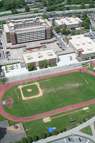 Harry S. Truman High School (Bronx) - Aerial Photo of the rear of Harry S Truman High School. The 3-section gymnasium appears at foreground.