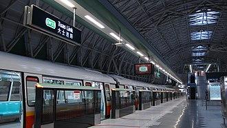 East West MRT line - A C151B train at Platform A of Tuas Link MRT station