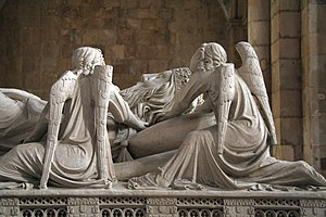 "Mourner - Mourning angels at the tomb of Pedro I of Portugal (died 1367), Alcobaça Monastery Mourning figures or ""weepers"" (French pleurants) have been conventional elements of tomb architecture since the Gothic period."