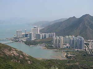 Lantau Island - Tung Chung New Town and Tung Chung Bay seen from the Ngong Ping 360 cableway.