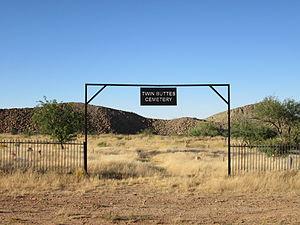 Twin Buttes, Pima County, Arizona - Image: Twin Buttes Cemetery Gate Pima County Arizona 2013