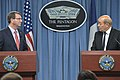 U.S. Defense Secretary Ash Carter, left, and French Defense Minister Jean-Yves Le Drian hold a press conference at the Pentagon, July 6, 2015 150706-D-NI589-342c.jpg