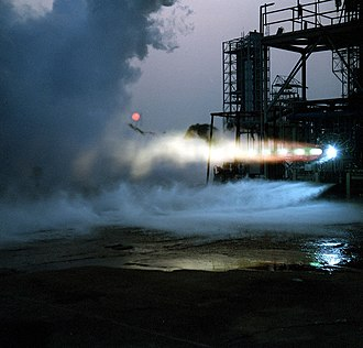 National Launch System - A National Launch System engine being test-fired at a NASA centre