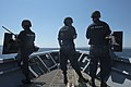 U.S. Sailors stand watch on the bow of the guided missile cruiser USS Vella Gulf (CG 72) in the Dardanelles en route to the Mediterranean Sea Aug. 26, 2014 140826-N-ZE250-423.jpg