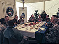 U.S. Soldiers assigned to 1st Brigade Combat Team, 1st Cavalry Division eat lunch with French Army Lt. Gen. Eric Margail, the commander of Headquarters Rapid Reaction Corps-France, during Steadfast Jazz 13 131101-A-ZZ999-056.jpg