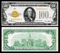 $100 Gold Certificate, Series 1928, Fr.2405, depicting Benjamin Franklin