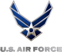 United States Air Force logo, blue and silver....
