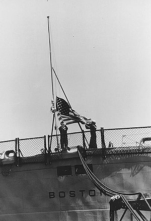 USS Boston (CA-69) - The flag lowering ceremony on Boston