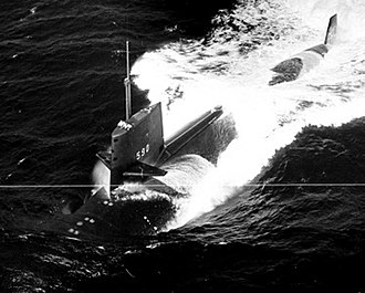 USS Sculpin (SSN-590) - USS Sculpin (SSN-590), underway in the Gulf of Mexico during her alpha trials, 9-1-1961.