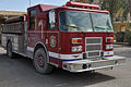 US Army 53443 A Q-West fire department truck waits for a fire emergency here. If Soldiers don't keep their CHUs safe, they may be visited by one. (U.S. Army photo by Sgt. Matthew C. Cooley, 15th Sustainment Brigade.jpg