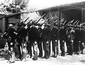 China Marines - A detachment of U.S. China Marines, in a relief party, in Peiping, China, during the Boxer Rebellion of 1900.