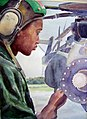 US Navy 030318-N-9643K-002 One of the watercolor paintings by Navy Artist Cmdr. Monica Allen, U.S. Navy Reserves, of a Sailor performing pre-flight checks on a helicopter in the Mediterranean Area of Operations.jpg