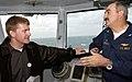 US Navy 031210-N-5319A-007 NASCAR driver Jeff Burton talks with Captain Martin J. Erdossy, Commanding Officer, USS George Washington (CVN 73) on the flag bridge, during a visit aboard the aircraft carrier.jpg